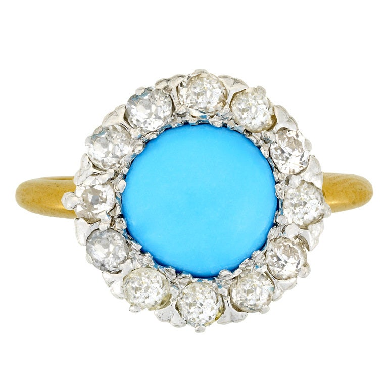 edwardian turquoise cluster ring at 1stdibs