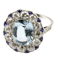 Belle Époque Aquamarine Target Ring with Diamonds and Sapphires