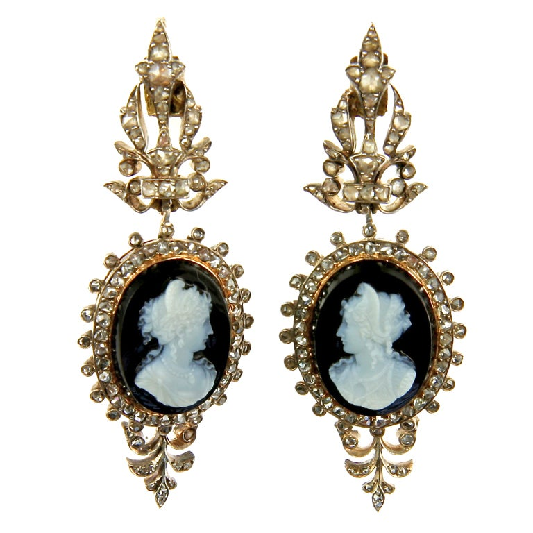French Louis-Philippe Era Onyx and Rose-Cut Diamond Cameo Drop Earrings