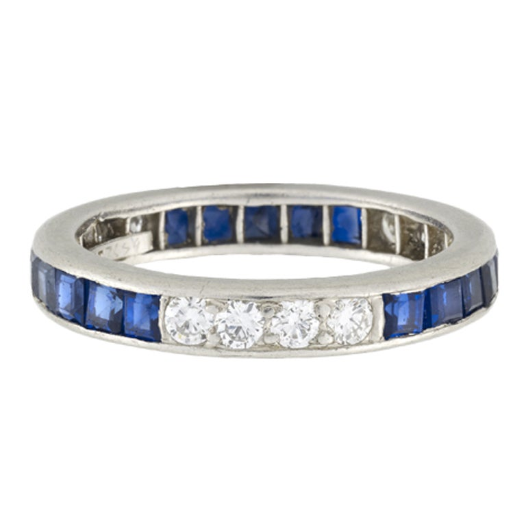 Tiffany And Co Estate Diamond And Sapphire Eternity Band