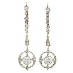 Past Era Edwardian Diamond Drop Earrings with Openwork Circles