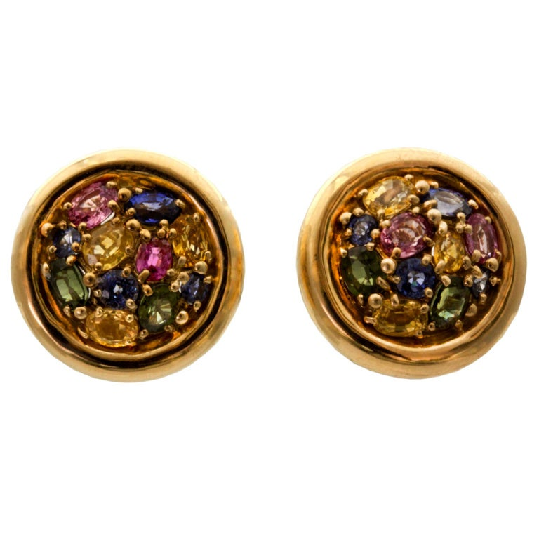 chaumet round multi colored sapphire gold earrings at 1stdibs 90s Fashion Jackets 1990s Fashion Grunge Clip Art