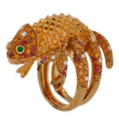 "Boucheron "" Camerisson ""  Gold,  Sapphire & Diamond  Ring"