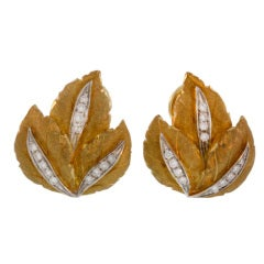 Buccellati  Gold & Diamond Leaf Earrings