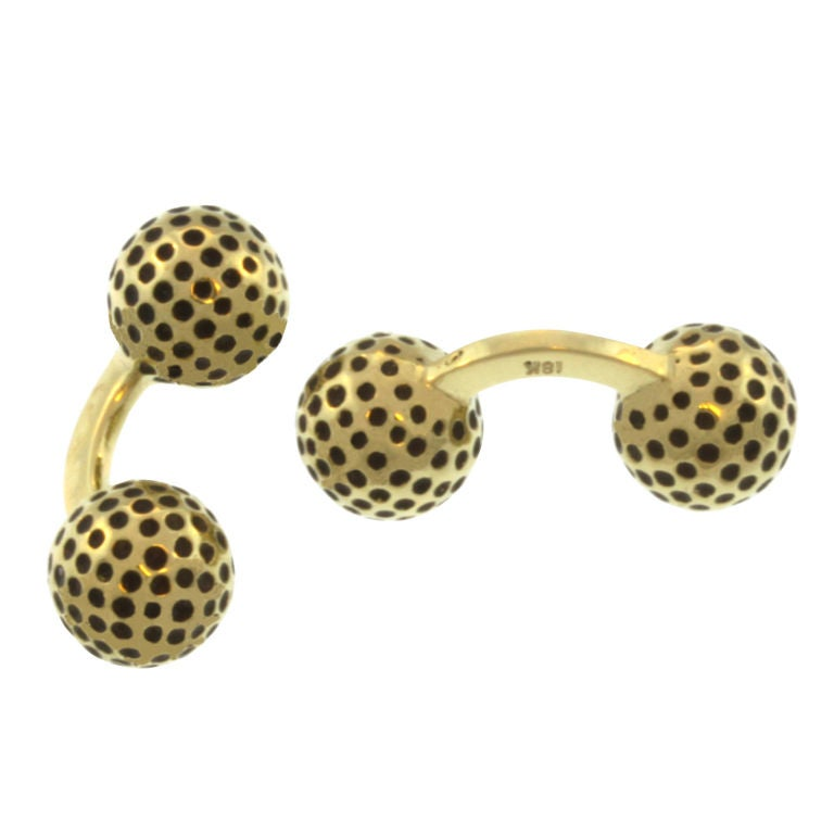 Gold And Enamel Golf Ball Cufflinks At 1stdibs