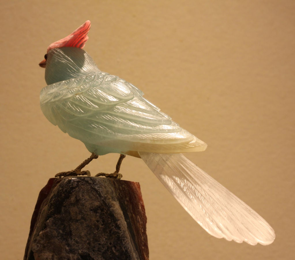 Carved decorative stone bird on base at stdibs