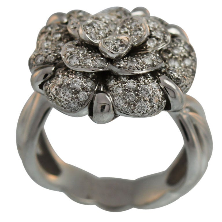 chanel diamond signature camellia ring at 1stdibs