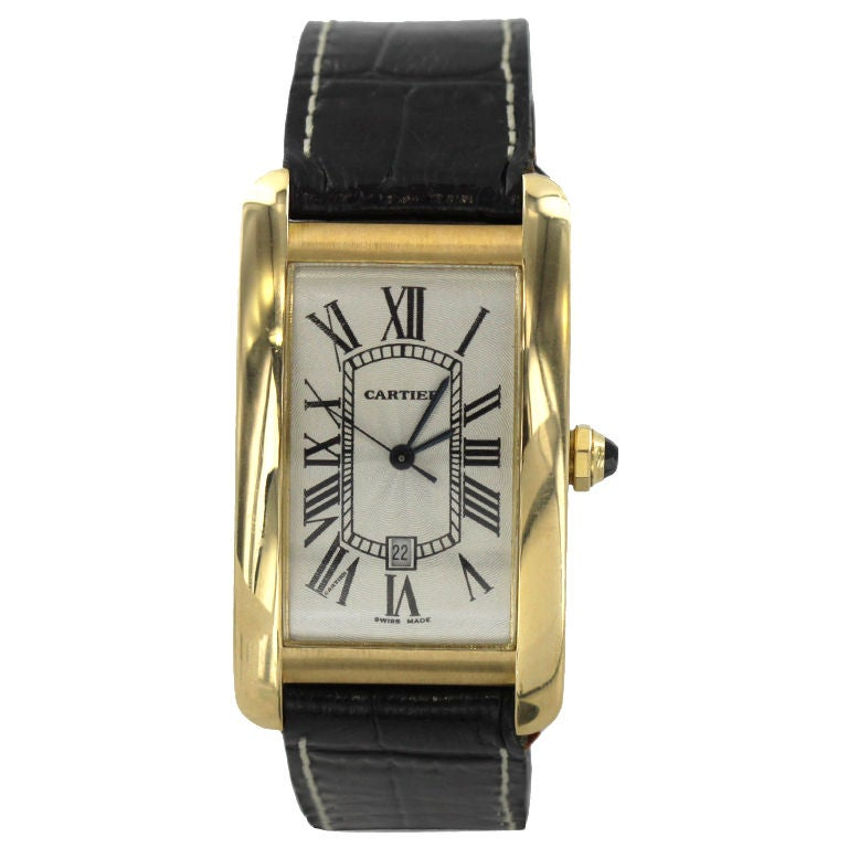 cartier gold automatic american tank at 1stdibs