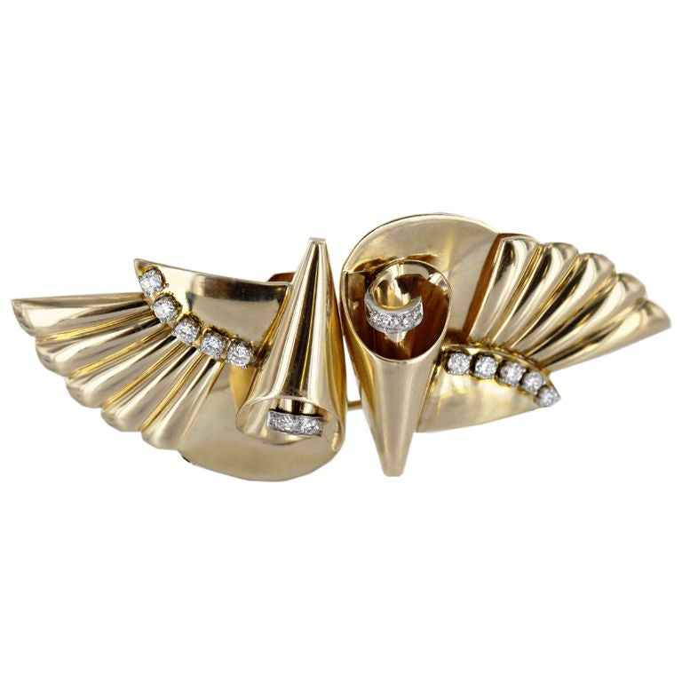 J E Caldwell 1940 S Diamond And Gold Double Clip Pin At