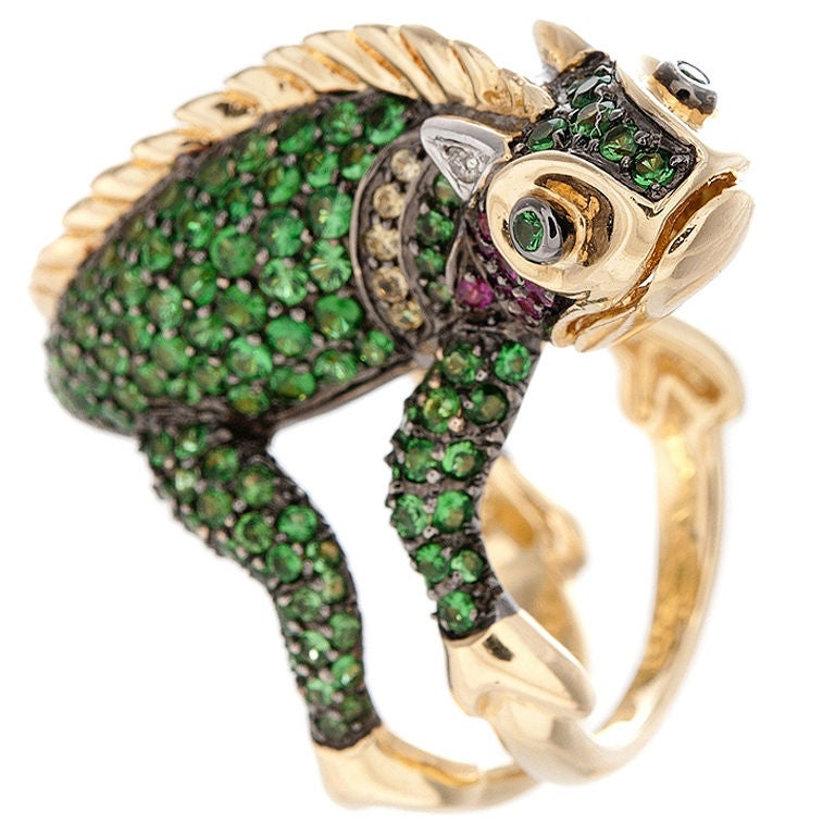 Chameleon Tsavorite Garnet Ruby Sapphire And Diamond