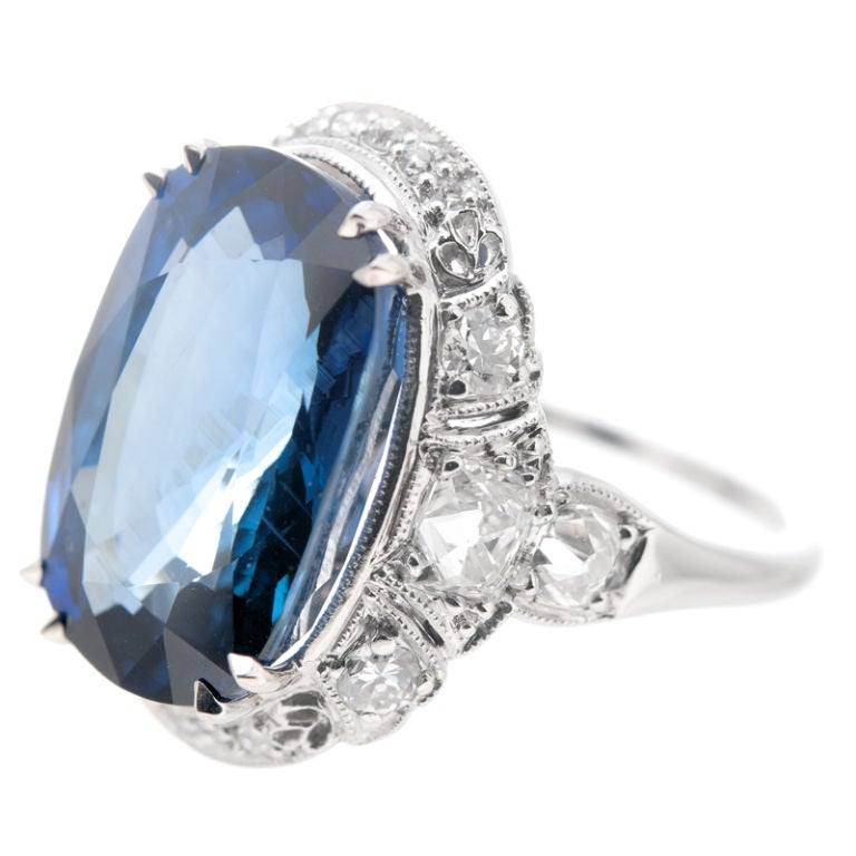 blue diamond wedding ring deco blue sapphire platinum ring at 1stdibs 1925