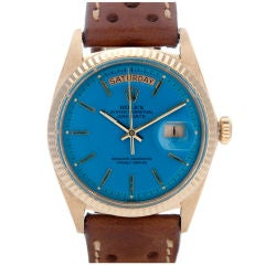 ROLEX All-Original Blue Stella Dial Yellow Gold Day-Date