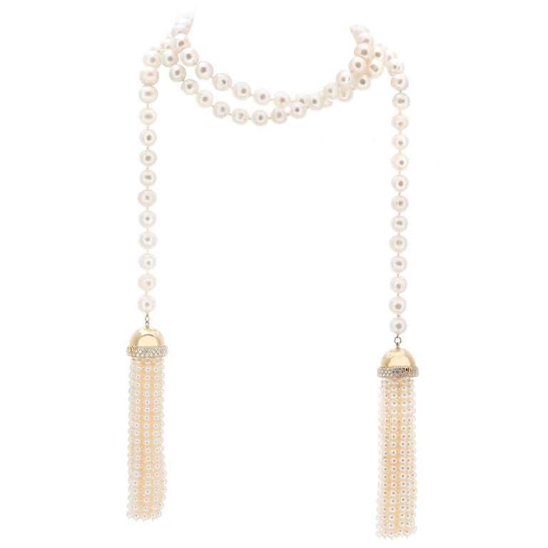 Outstanding Pearl and Diamond Lariat 1