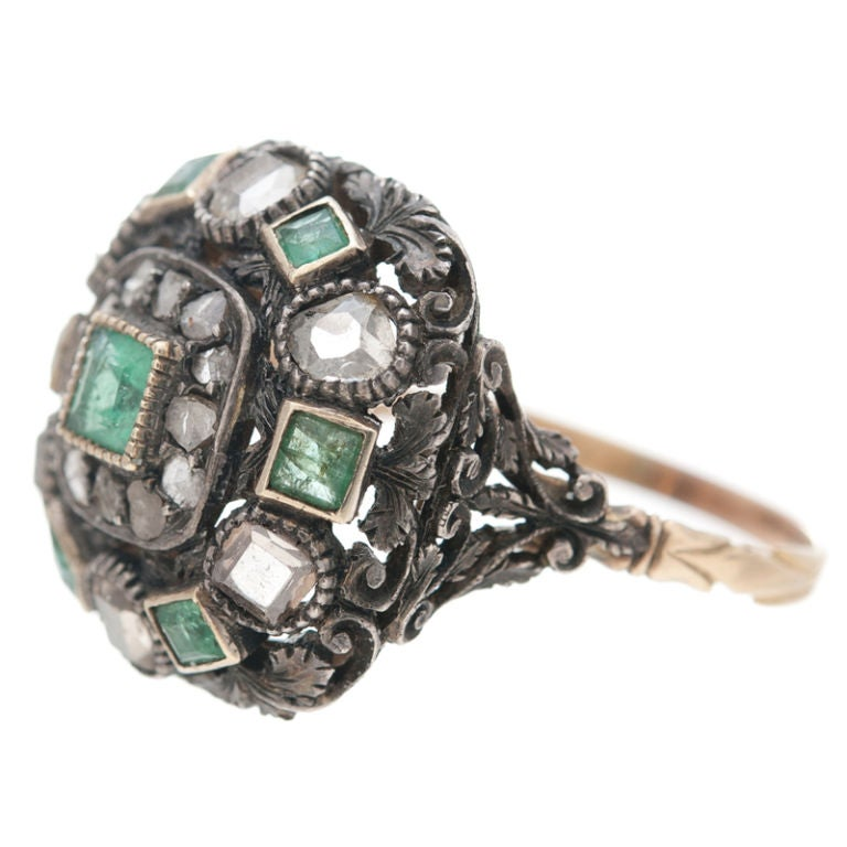 large antique emerald ring image 2
