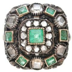 Large Antique Emerald Diamond Ring