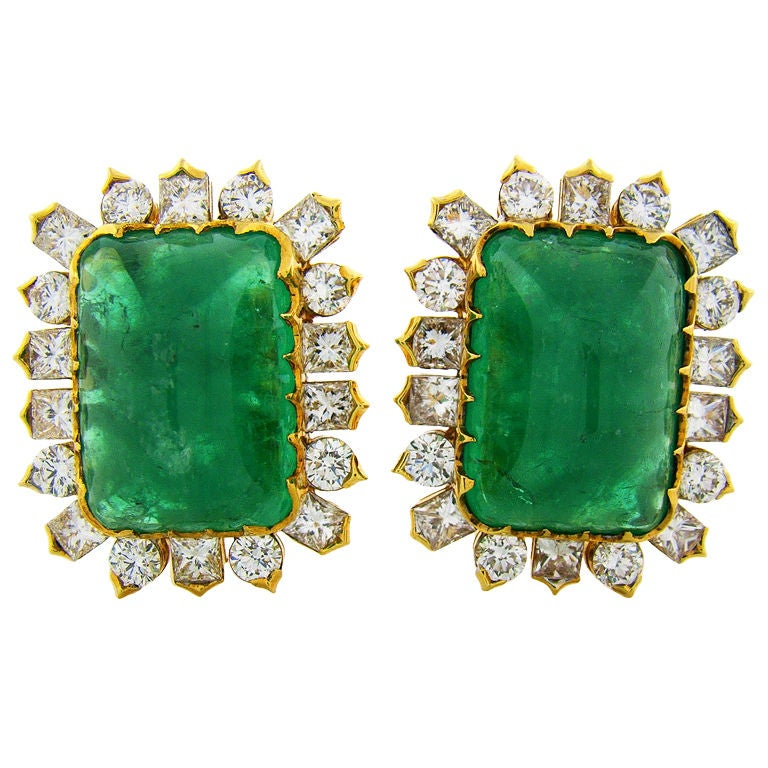 Colossal Emerald Diamond Yellow Gold Earrings At 1stdibs