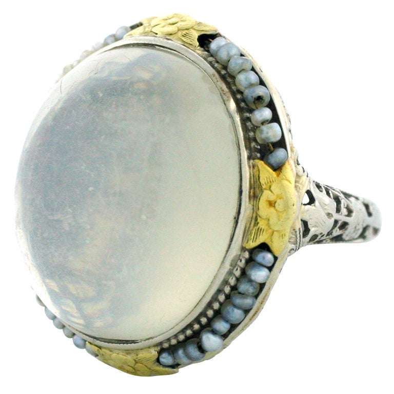 sri lankan antique moonstone and pearl handmade