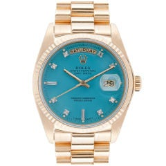 ROLEX All-Original Blue Stella Diamond Dial Yellow Gold Day-Date