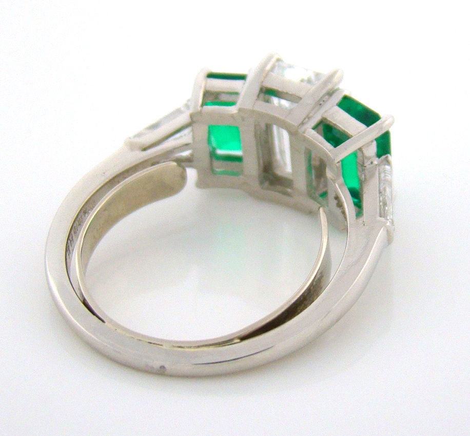 Diamond and Emerald Platinum 3-Stone Ring at 1stdibs