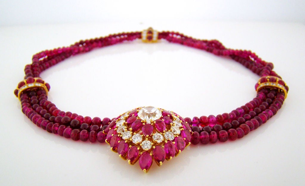 burmese ruby and bead necklace and earring suite