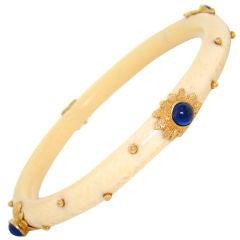 Ivory, Cabochon Sapphires & Gold Bangle Bracelet