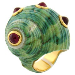 Ruby & Yellow Gold Shell Ring by Sabbadini