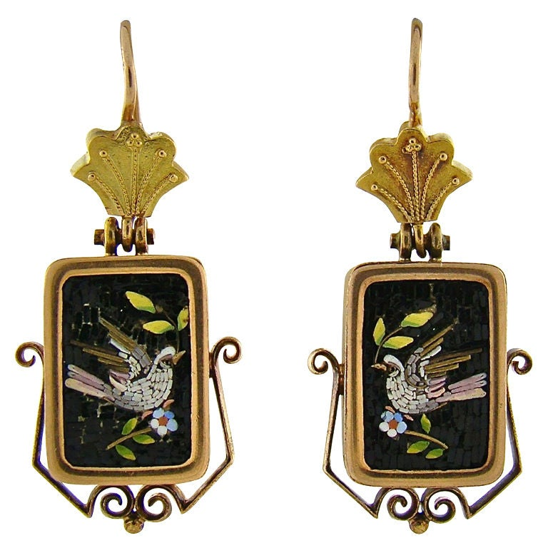 Early Victorian Yellow Gold Micromosaic Dove Earrings 1