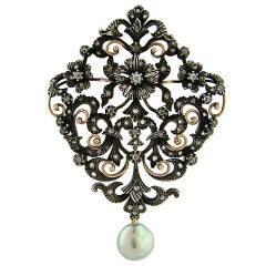 Victorian Natural Pearl, Diamond & Silver over Gold Brooch