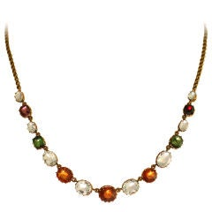 Victorian Multi-Gem & Yellow Gold Handmade Necklace