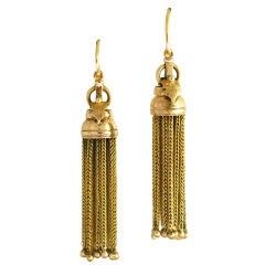 Victorian American Handmade Yellow Gold Tassel Dangle Earrings