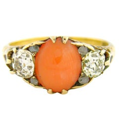 Origina Victorian Coral, Antique Cut Diamond & Yellow Gold Ring