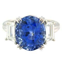 Ceylon Blue Sapphire 6.91ct, Emerald Cut Diamond & Platinum Ring