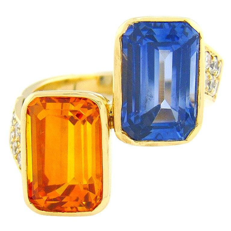 Orange & Ceylon Blue Sapphire Designer Ring 1
