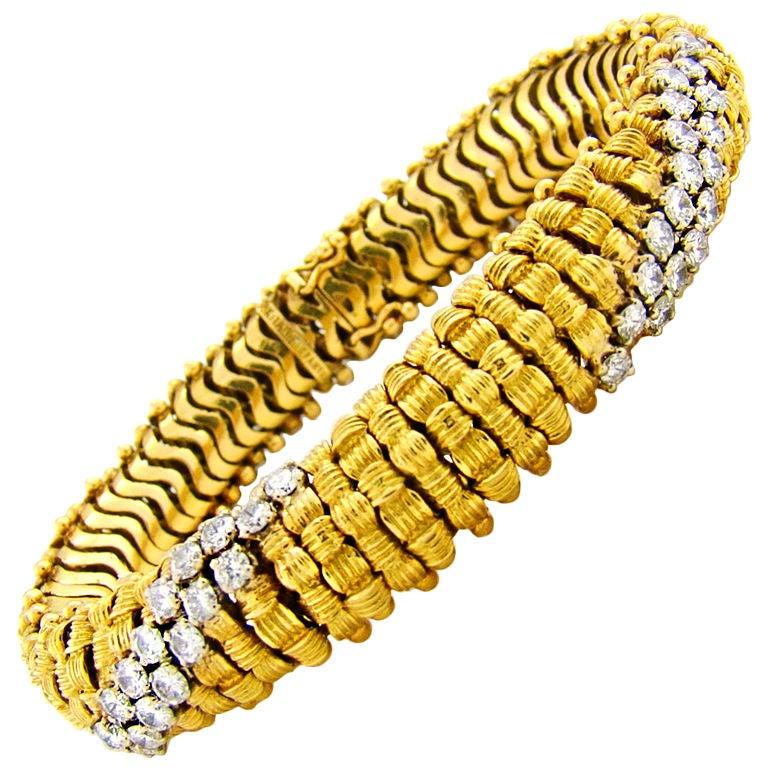 1960s Tiffany & Co. Diamond Gold Bracelet 1