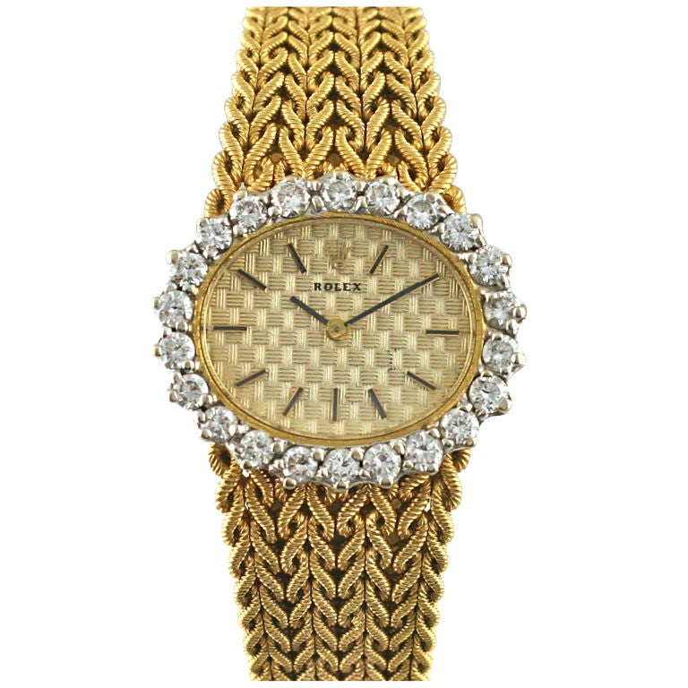 ROLEX Diamond Dial & Woven Yellow Gold Bracelet & Dial Motif 1