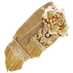 Victorian Tri-Color Gold Mesh & Tassel Bracelet