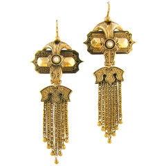 Victorian Pearl & Enamel Tassel Drop Earrings
