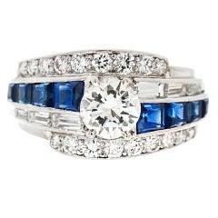 RAYMOND YARD signed Diamond & Sapphire Ring