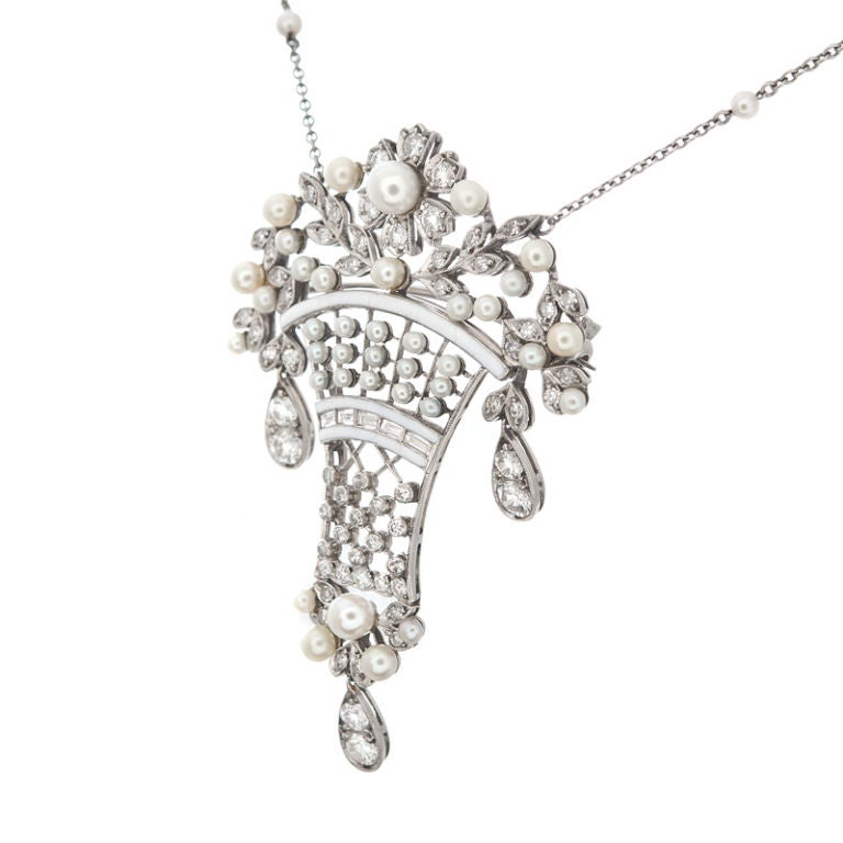 Art Nouveau Edwardian  Diamond Pearl  Enamel Brooch Pendant For Sale