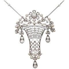 Edwardian  Diamond Pearl  Enamel Brooch Pendant
