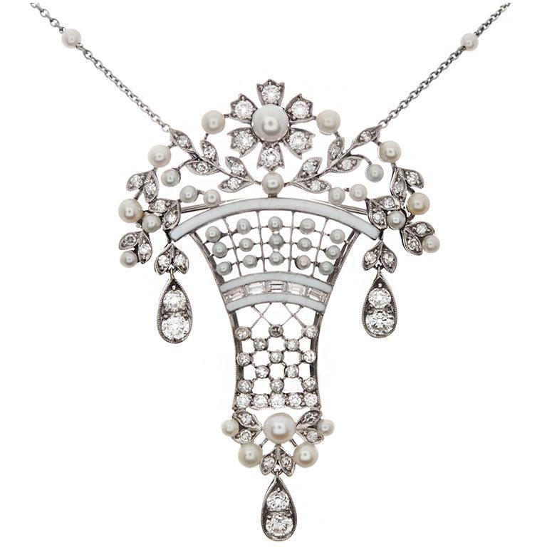 Edwardian  Diamond Pearl  Enamel Brooch Pendant For Sale