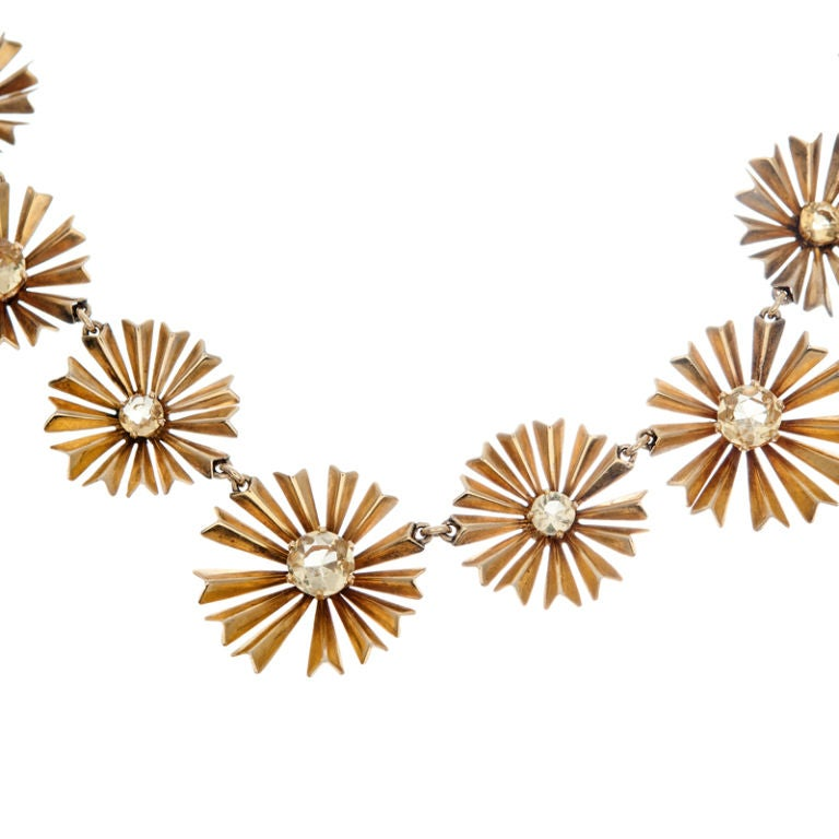 1950s Ruser Yellow Sapphire Gold Starburst Necklace In Excellent Condition In Carmel-by-the-Sea, CA