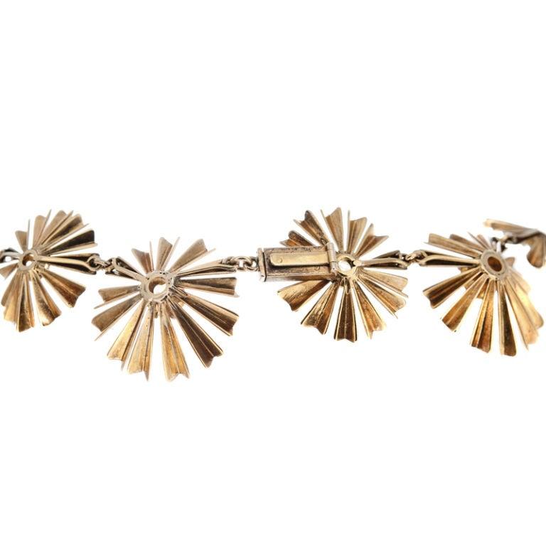 Women's 1950s Ruser Yellow Sapphire Gold Starburst Necklace