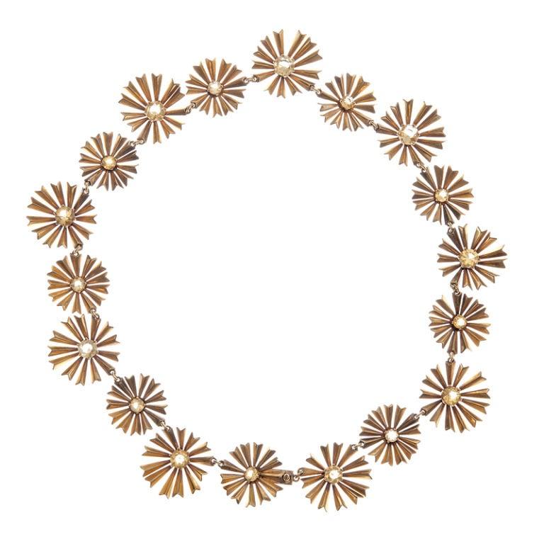 1950s Ruser Yellow Sapphire Gold Starburst Necklace 1