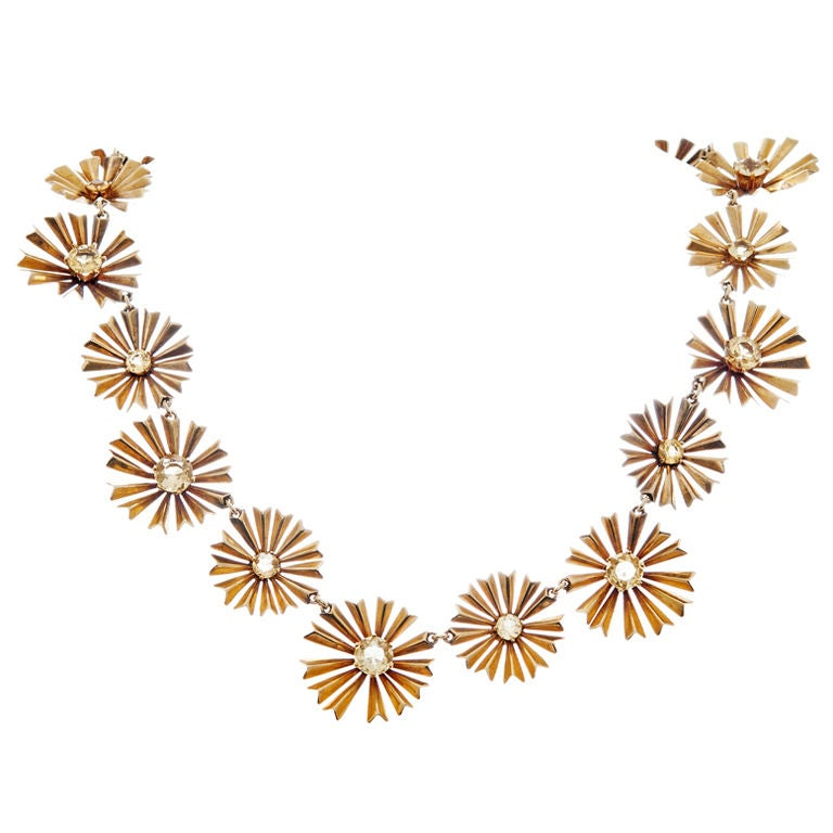 1950s Ruser Yellow Sapphire Gold Starburst Necklace