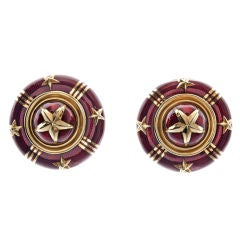 Sabbadini Enamel Gold Clip-On Earrings