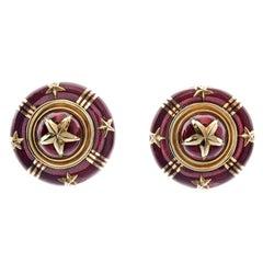 Sabbadini Enamel Gold Clip-On Earrings