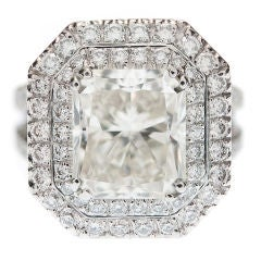 "5.03cttw. Radiant Cut Diamond & Double ""Halo"" Platinum Ring"