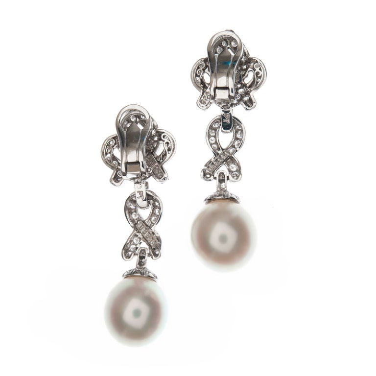 HENRY DUNAY Pearl, Diamond & Platinum Dangle Earrings 2