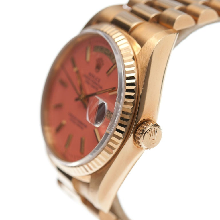 "ROLEX All-Original Pink ""Stella"" Dial Yellow Gold Day-Date image 2"